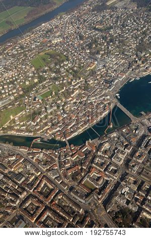 Switzerland Lucerne Chapel Bridge Vertical Luzern City Aerial View Photography