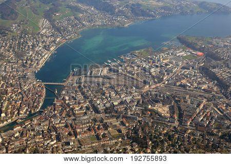 Switzerland Lucerne Main Station Luzern City Lake Aerial View Photography
