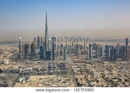 Dubai Skyline Burj Khalifa Skyscraper Aerial View Photography