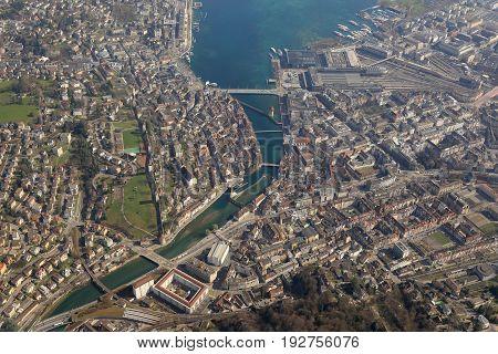 Switzerland Lucerne Luzern City Lake Aerial View Photography