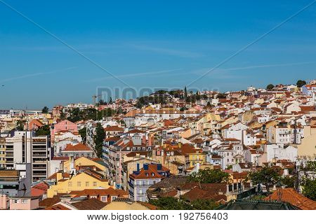 Aerial View Of The Red Roofs Of Alfama, The Historic Area Of Lisbon