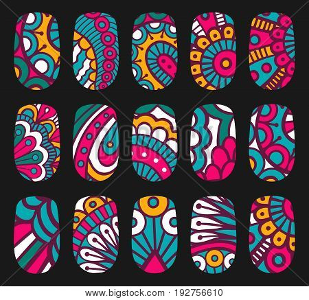 Nail art oriental style templates. Manicure design set. Can be used for false nail tips and stickers. EPS 10 vector.