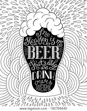Glass of beer lettering on the doodle background. Can be used for posters, t-shirt prints. EPS 10 vector illustration with irish proverb.