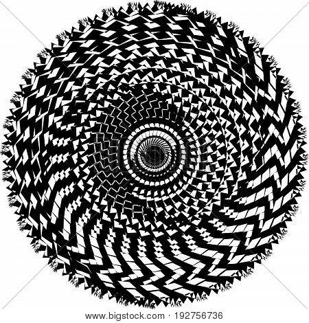 Circular, Radiating Abstract Shape, Motif. Geometric Design Element Series
