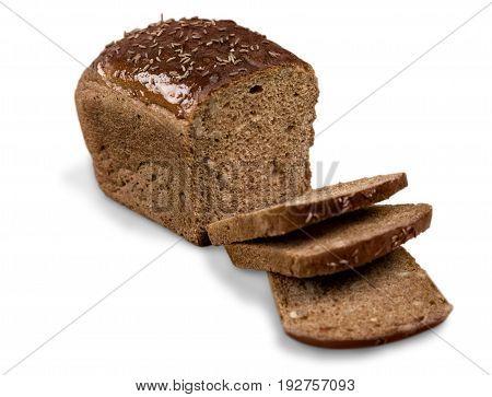 Brown slice bread loaf white background nobody