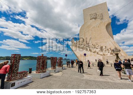 Lisbon, Portugal - May 18, 2017: The Monument To The Discoveries