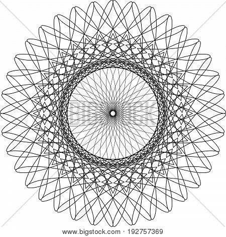 Circular, Radiating Abstract Shape, Motif. Geometric Design Element Series