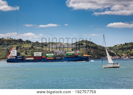 Lisbon, Portugal - May 18, 2017: Shipping On The River Tagus