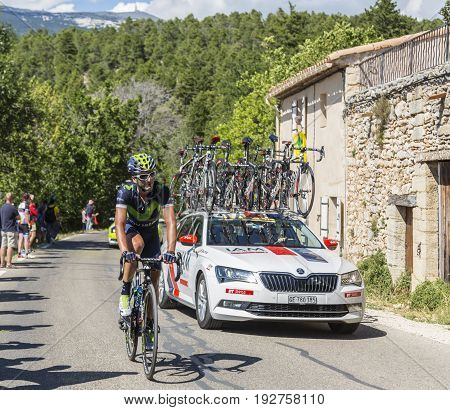 Mont Ventoux France - July 142016: The Spanish cyclist Gorka Izagirre Insausti of Team Movistar riding on the road to Mont Ventoux during the stage 12 of Tour de France 2016.