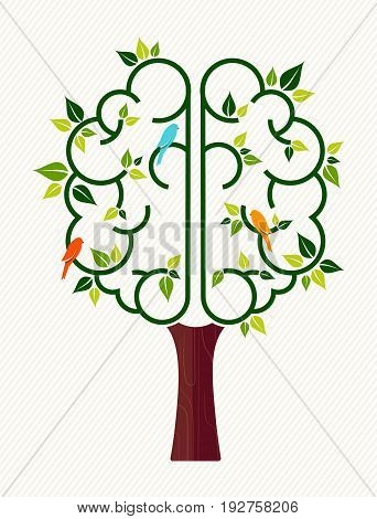 Think green concept illustration tree with human brain and birds for environment care or nature help project. EPS10 vector.
