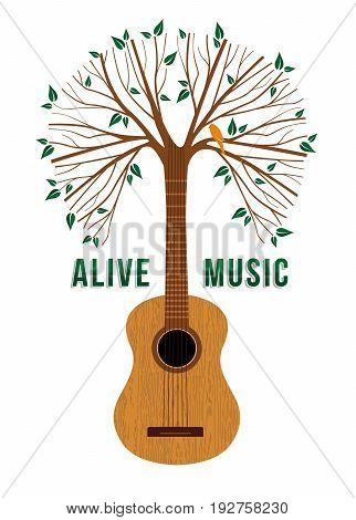 Guitar Tree Live Music Quote Concept Illustration
