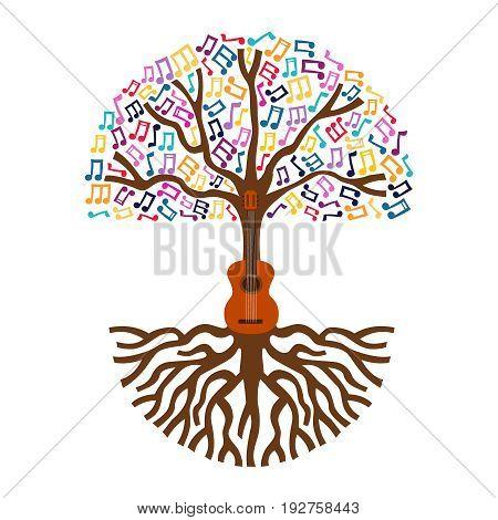 Guitar Tree Live Music Nature Concept Illustration