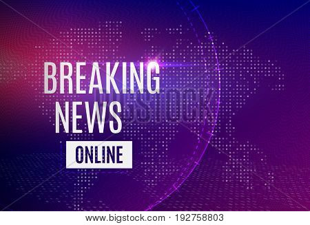 Breaking news online announcement message line with message about latest news on a futuristic bright background with abstract lines, dot and glowing design elements. Vector banner illustration