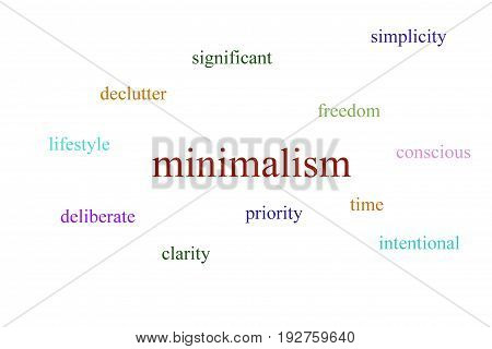 Illustration about minimalism on a white background with multi colored words