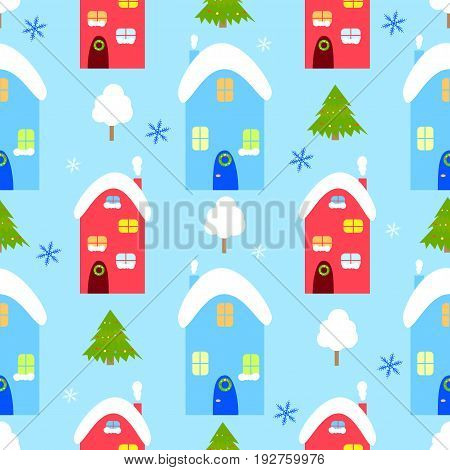 Winter house seamless vector pattern, snowman winter, house, christmas