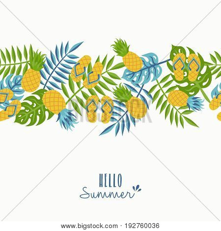 Hello Summer Tropical Pineapple Pattern Design