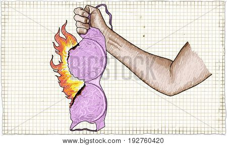 Strong Woman Fist holding a Burning Bra