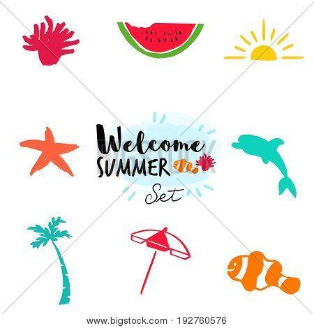 Summer Hand Drawn Beach Doodle Illustration Set