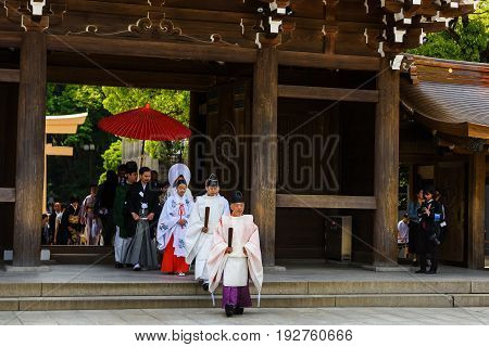 TOKYO JAPAN - MAY 7 2017: Unidentified Japanese people with traditional costume Celebrate of Shinto wedding ceremony at Meiji Jingu Shrine in Tokyo Japan.