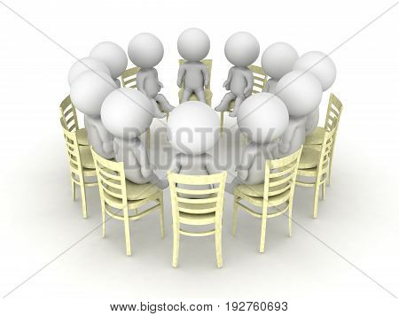 3D illustration of twelve step progam help group. There are twelve small people sitting on chairs in a circle.
