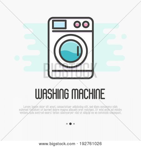 Washing machine thin line icon. Vector illustration for laundry or plumbing logo.