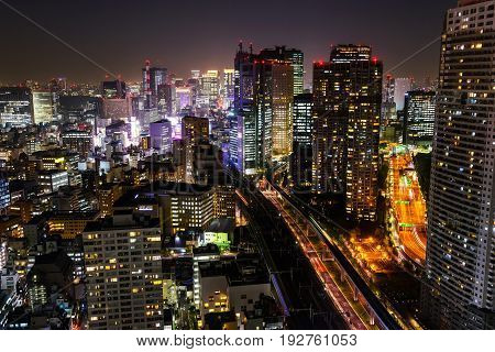 Tokyo Skyline Cityscape At Night