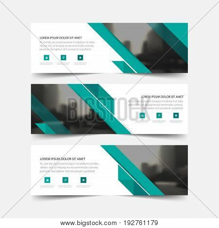Green abstract corporate business banner template, horizontal advertising business banner layout template flat design set , clean abstract cover header background for website design