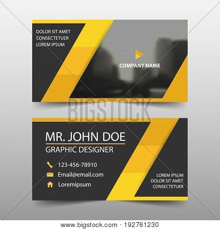 Yellow triangle corporate business card name card template horizontal simple clean layout design template Business banner template for website