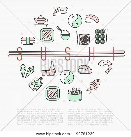 Sushi bar circle concept with thin line icons for menu of cafe or restaurant. Vector illustration.