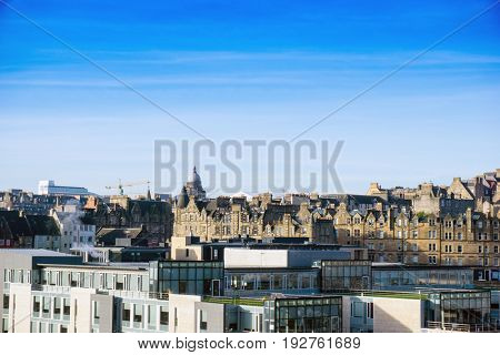 Street view of Historic Old Town Houses in Edinburgh, Scotland