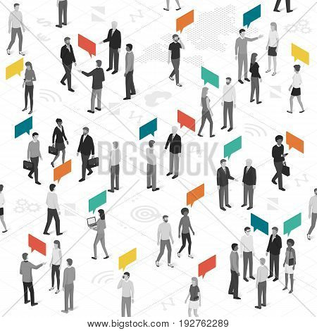 People talking and sharing different ideas: social networks communication and marketing concept