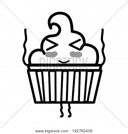silhouette kawaii cute funny muffin dessert vector illustration