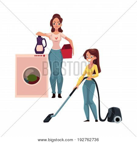 Pretty young woman, housewife washing and vacuum cleaning her house, doing housework, cartoon vector illustration isolated on white background. Beautiful woman girl washing clothes