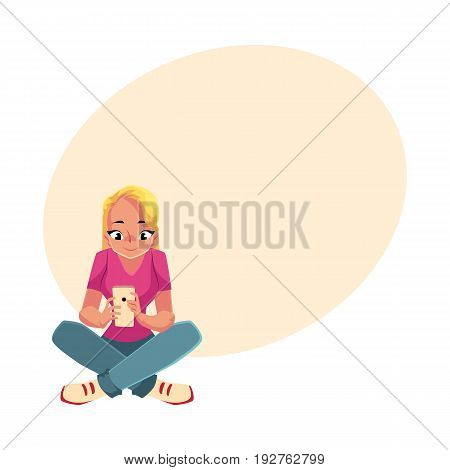 Young woman playing with smartphone, using mobile phone, sitting legs crossed, cartoon vector illustration with space for text. Woman, girl in jeans and t-shirt sitting with mobile phone