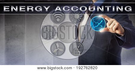 Blue chip corporate accountant plugging a virtual trending line chart into an ENERGY ACCOUNTING application. Industry and technology concept for improving energy efficiency and measuring consumption.