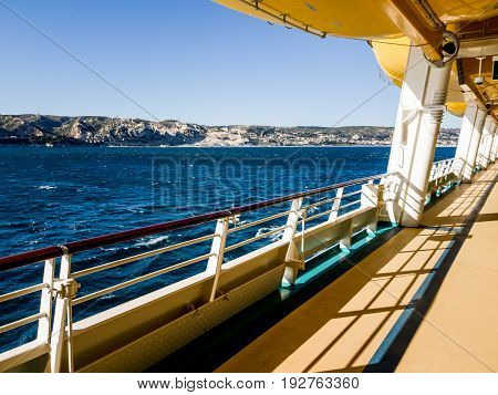 Mediterranean coast viewed from a cruise ship