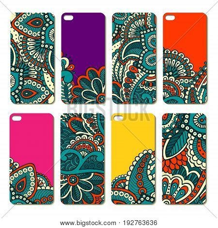 Ornate phone case design set. Indian ethnic style smartphone cover pattern. Eight colourful bright decals for mobile. EPS 10 vector hand-drawn vintage background. Isolated.