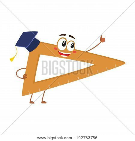 Cute and funny school angle ruler with smiling human face showing thumb up, cartoon vector illustration isolated on white background. Smiling student angle ruler character, mascot
