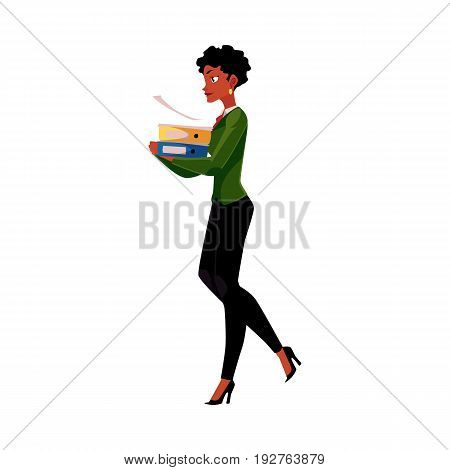 Young pretty black, African American businesswoman, woman, girl carrying heavy document folders, cartoon vector illustration isolated on white background. Black businesswoman with folders of documents