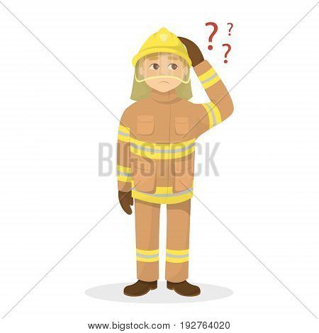 Isolated confused fireman on white background with questions.