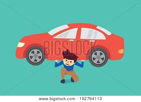 Man kneeling on the floor because he have burden about car too heavy to carry. Illustration about spending.