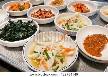 Korean Meal Side Dishes Vegetable, Kinchi, Groundnuts, Garlic, Bean Sprout