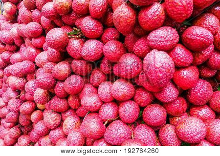 Close-up On Heap Group Of Lychee Fruits Tied Together