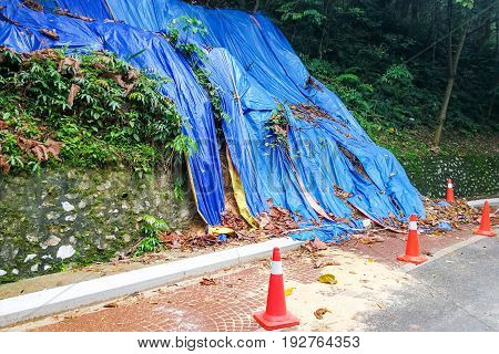 Cones Barricade Dangerous Collapsed Eroded Hill Slope Area
