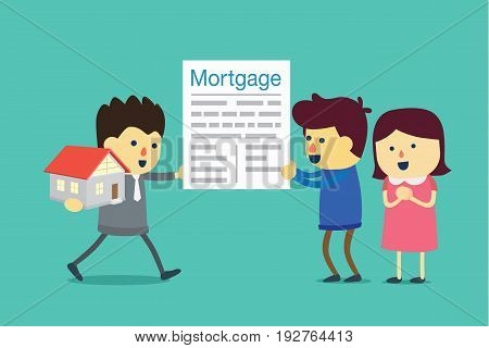 Husband and wife take a mortgage commitment letter exchange for home with agent. Illustration about buying property.