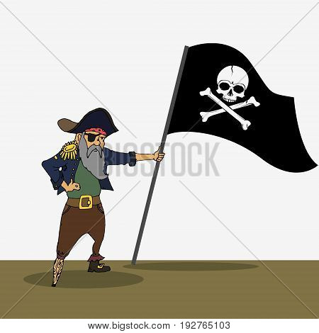 Pirate Holding Flag With Skull