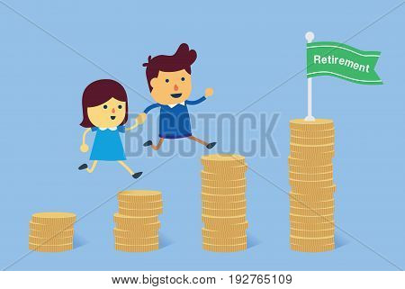 Young man and woman going to last pile of coin for retirement together. Illustration about financial planning.