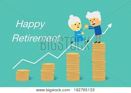 Grandmother and grandfather jump to big pile of coin. Illustration about financial goal to retirement.