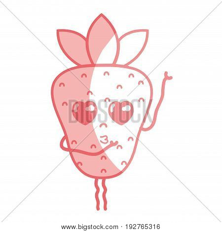 silhouette kawaii cute tender strawberry fruit vector illustration