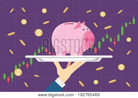 Holding piggy bank in silver tray on stock chart background. This illustration about saving in mutual funds in catering concept.